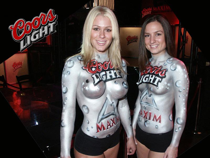 Nude Girls Serving Beer